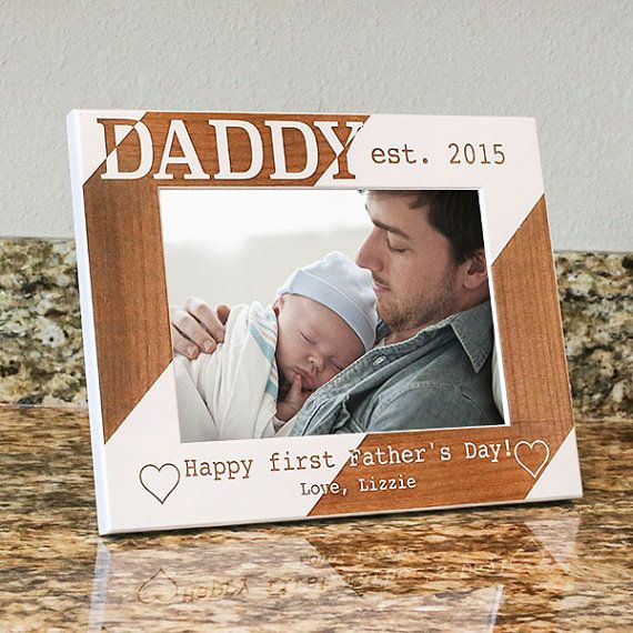 Personalized Dad Picture Frame-Happy First Fathers by PWEGifts That's amazing, we select it as a best gift for Father's day in our pin board https://www.pinterest.com/shantoustone/