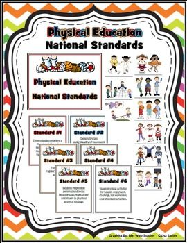 Physical Education National Standards Bulletin Board Posters and clipart.  Quick and easy way to make an informative, yet cute bulletin board for your gymnasium.