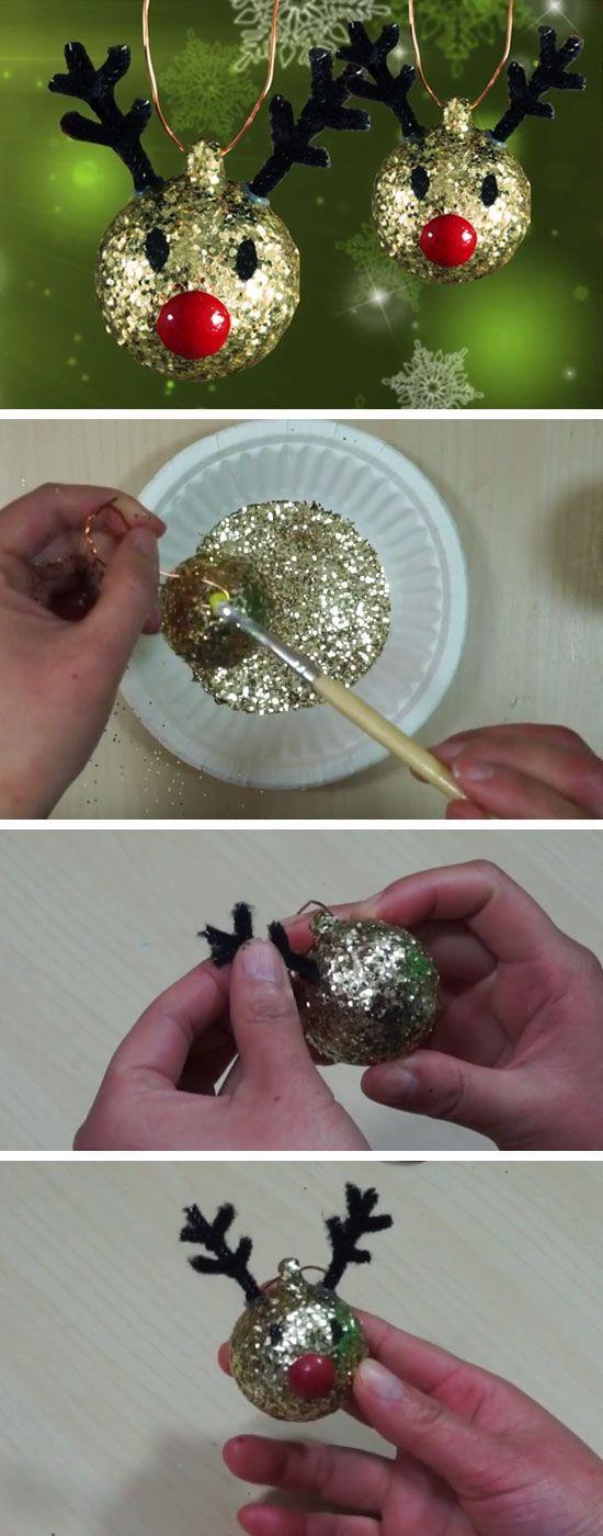DIY Christmas Tree Reindeer Ornaments | Easy Christmas Crafts for Kids to Make | Cheap Handmade Christmas Decorations on a Budget DIY