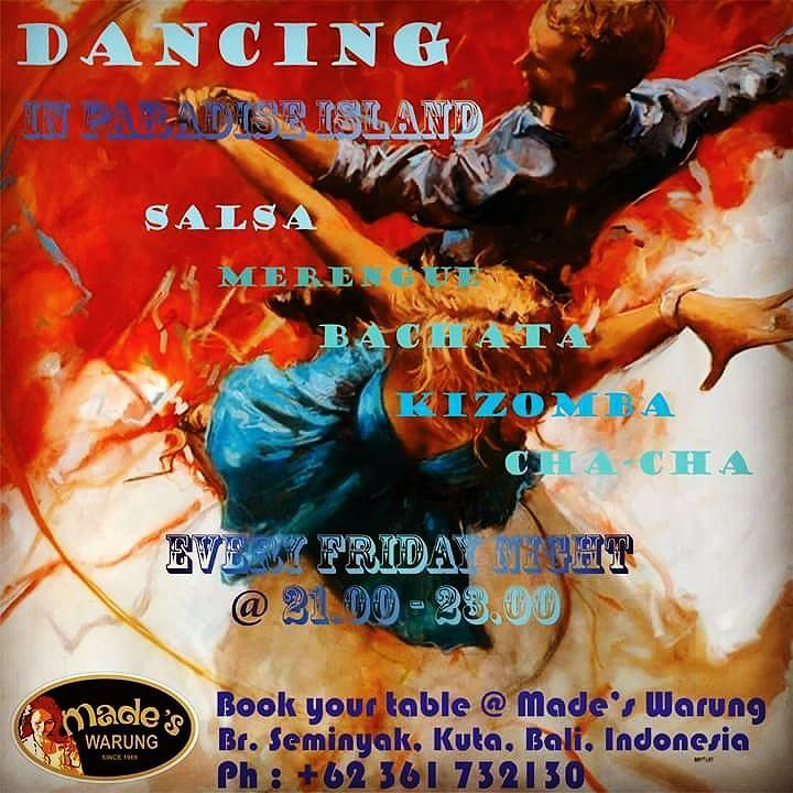 Come and join us tonight... Regular fun Friday night at Made's Warung Seminyak Bali. Take more chances dance more dances. Accompanied by BUENA TIERRA LATIN BAND. Hosted by INTAN - ALFERD - NENI - ARIK. See you on the dance floor...... #food #bali #holiday #travelling #traveling #wanderlust #globetrotter #travel #travelblogger #flatlays #flatlay #flatlayoftheday #lunch #yummy #acolorstory #foodlover #tumblr #foodforfoodie #style #foodie #foodblogger #madeswarung #samsunglife #like4like…