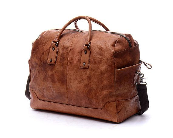 """19"""" Unisex Leather travel bag  Brown vintage vegetable leather luggage bag,laptop Bag,school bag,Leather Backpack,leather Messenger bag-N023"""