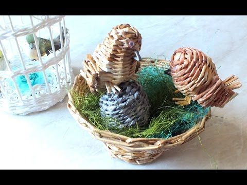 Плетение из газет птичка weaving newspapers Tutorial cestaria com jornal - YouTube