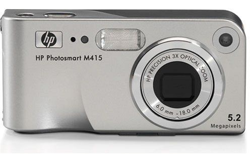 HP M415 5.36MP Digital Camera with 3x Optical Zoom. 5.2 Megapixel Photo Smart Digital Camera. 16 MB internal memory and 1.5 Inch Color Display. 18x Total Zoom (3x Optical, 6x Digital). Image Format JPEG/MPEG-1 for Video Clips. Maximum Shutter Speed 1/2000 sec.
