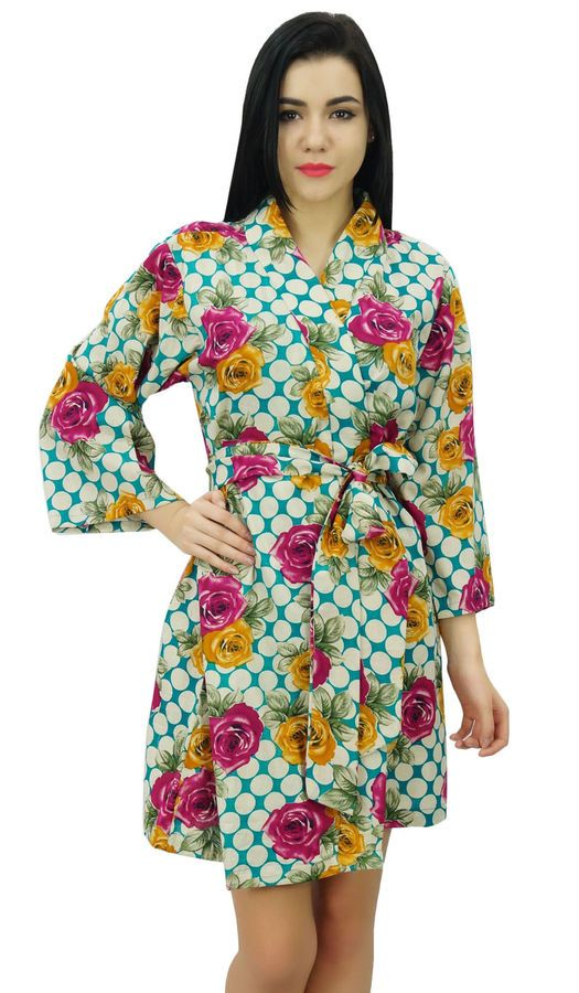 49acd7ace5 Bimba Womens Short Cotton Floral Robe Bride Getting Ready Bridesmaid Gift  Multic Cotton Floral