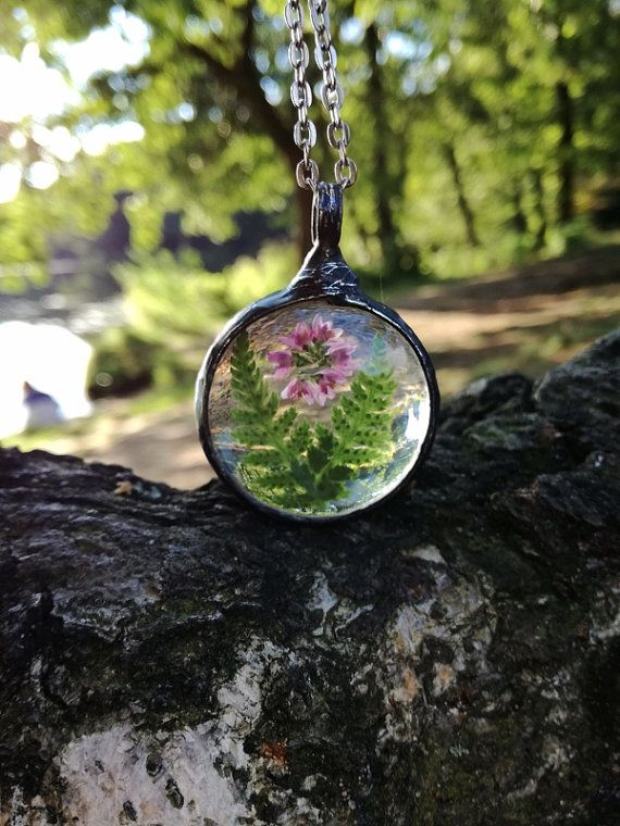 Terrarium Necklace FERN HEATHER Necklace Dry Flower Boho