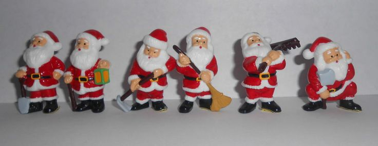 6x mini santa s / santa clus Christmas Cake Decorations yule log cupcake toppers