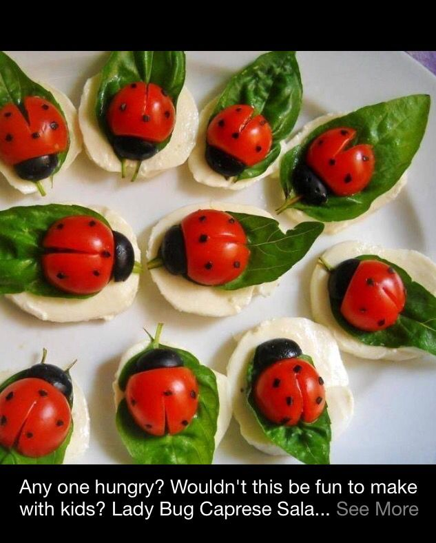 Ladybug caprese salad. Moz, basil, olives, cherry tomatoes, with balsamic dots