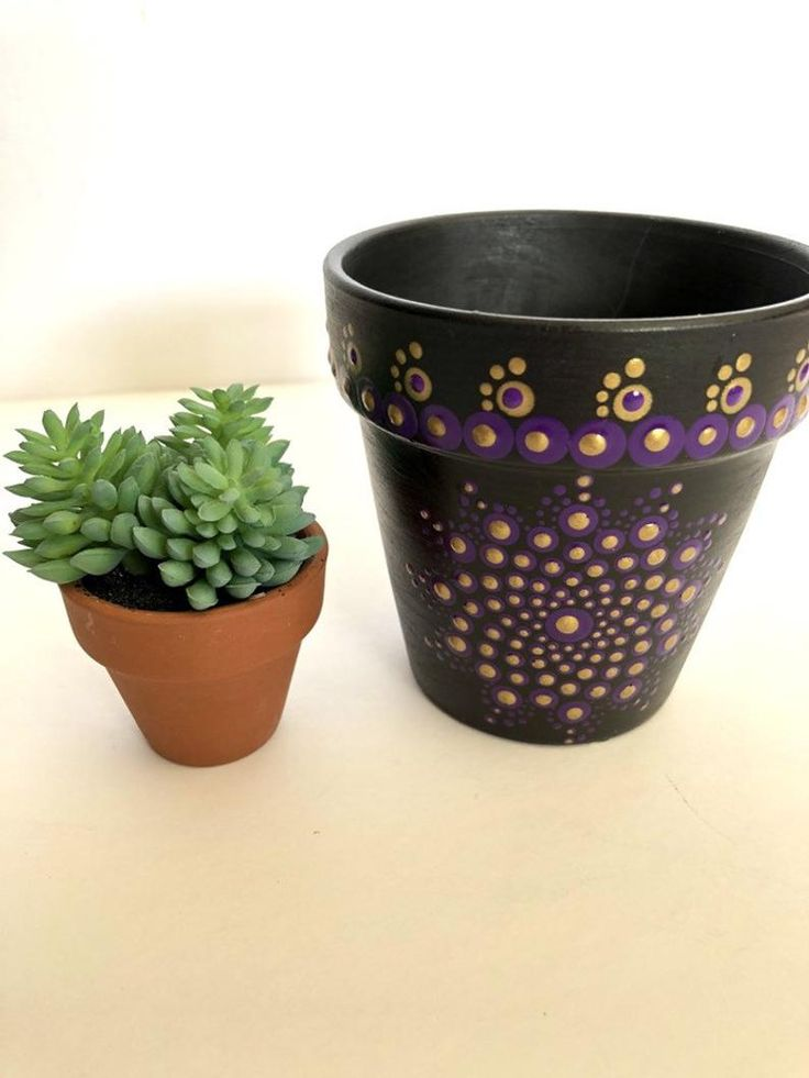 Funky bold unique painted indoor flower pots perfect