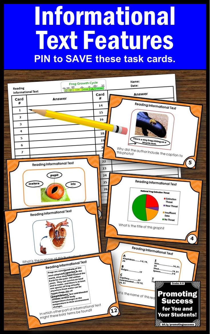 Reading Nonfiction Informational Text Features Activities with Task Cards, such a a scavenger hunt or SCOOT. Game ideas are included, 3rd Grade Common Core Standards Lesson Plan: CCSS.ELA-LITERACY.RI.3.5 CCSS.ELA-LITERACY.RI.3.7, 4.7 CCSS.ELA-LITERACY.RI.3.10, 4.10