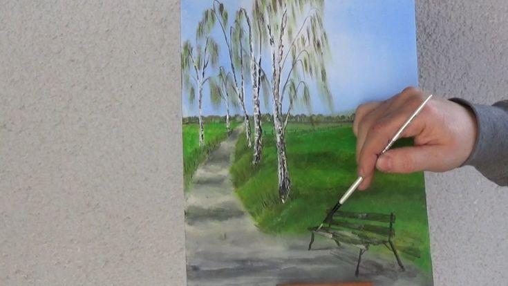 Kostenfreier Acryl-Malkurs für ein Frühlingsbild mit Birken