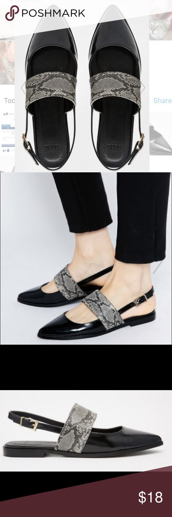 Pointed Flat Shoes Black and snake skin pointed flats from ASOS. Adjustable sling back strap with buckle closure. Asos Shoes Flats & Loafers