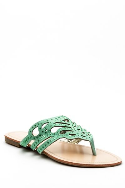 Encrusted Cut Out Open Back Flat Sandals
