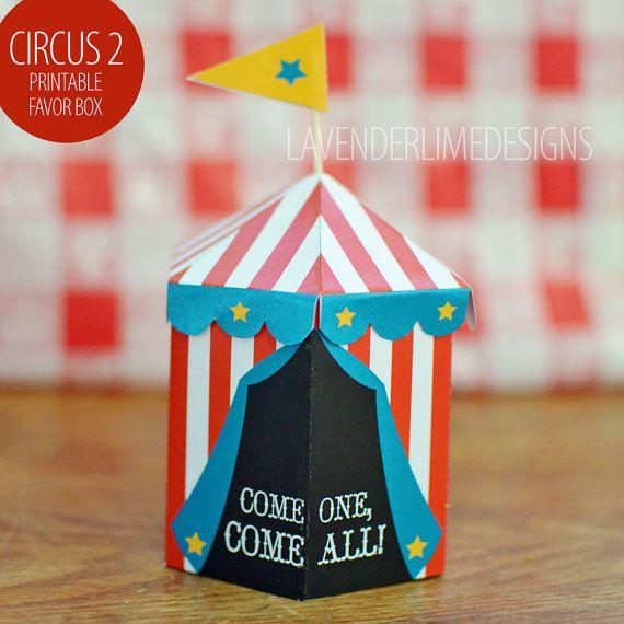Cest dans les petits détails... « Come on, come all » — ces boîtes de faveur imprimable tente de cirque mignon en rouge, blanc et fond