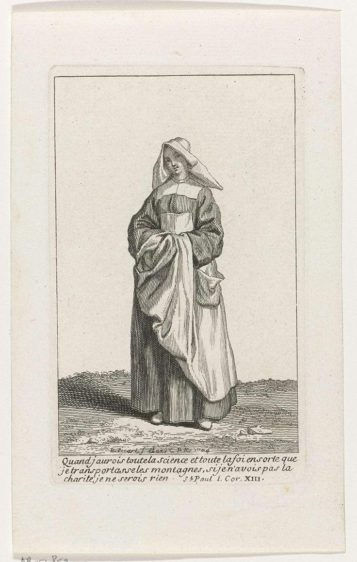 Bernard Picart | Non in eigentijds kostuum, Bernard Picart, 1704 | Figuur in eigentijdse kleding. In de marge een drieregelig Bijbelcitaat uit 1 Kor. 13 in het Frans.
