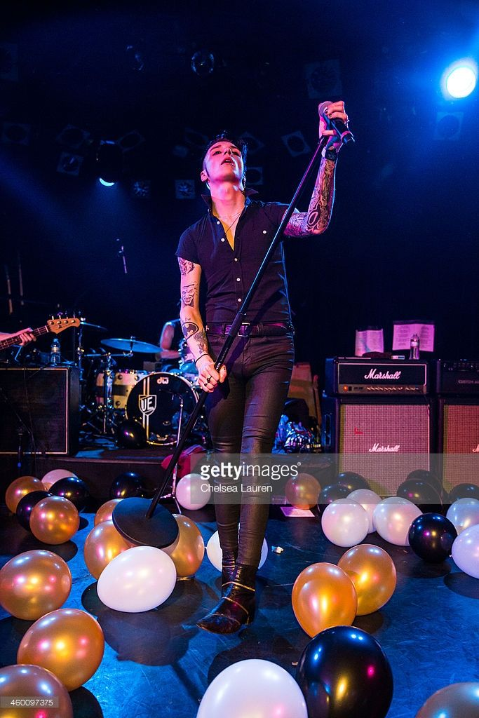 Vocalist Andy Biersack of Black Veil Brides performs with Camp Freddy at The Roxy Theatre on December 31, 2013 in West Hollywood, California.
