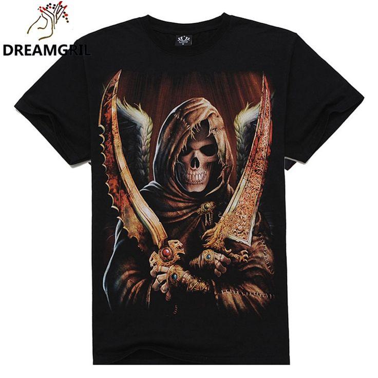 2016 Zomer Mannen Mode O-hals Casual Schedel Wolf 3D Print T-shirt M-XXXL Katoen Korte Mouw T-shirt
