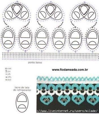 Soda tab crochet design with a row of hearts below.