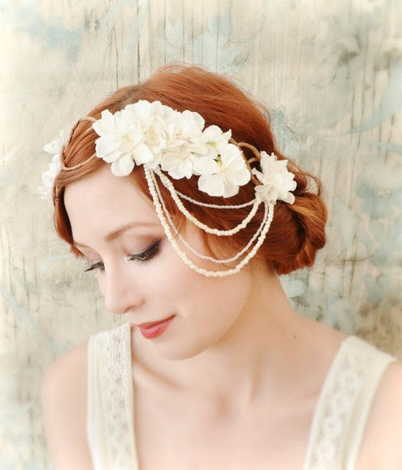 Ivoire casque nuptiale, Couronne de fleur de clapet, boho coiffure, accessoire de cheveux de mariage