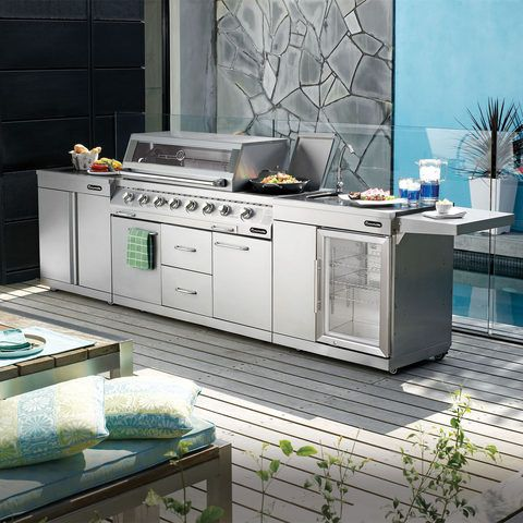 Gasmate's s/steel Platinum 6 Burner BBQ kitchen.  Incl removable side shelves, temp gauge, cool touch handle, satin enamel cast iron reversible plate.