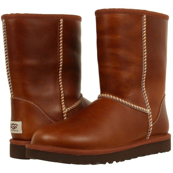 UGG Classic Short Leather (Chestnut) Women's Cold Weather Boots ($75) ❤ liked on Polyvore featuring shoes, boots, ankle booties, ankle boots, brown, brown leather ankle booties, brown leather booties, brown booties, leather booties and low heel ankle boots