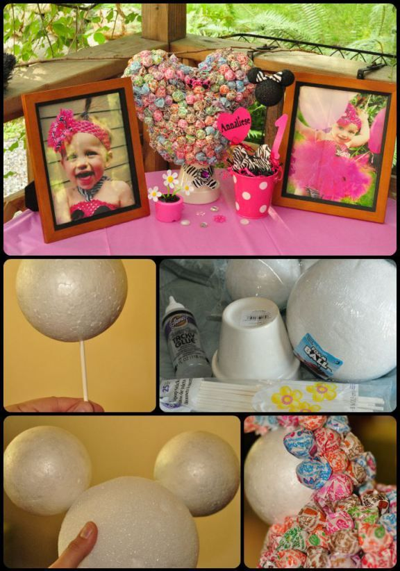 Perfect for your baby girl. A Minnie Mouse themed centerpiece. A perfect diy craft for birthday party decorations. Great for a first birthday!