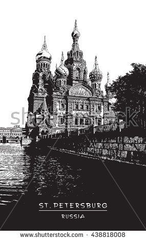 St. Petersburg, Russia. Church of the Saviour on Spilled Blood and canal.  Black and white vector illustration. EPS 10. Easy editable image. Result of Auto-Trace.