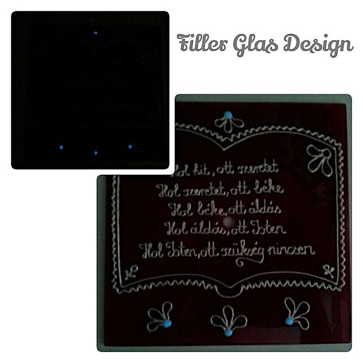 Haussegen - Házi áldás - Handmade - Handbemalte - kézzel festett üvegóra - 20x20