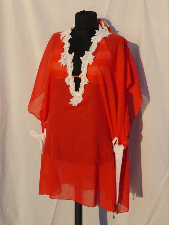 Orange Lace fine muslin beachwear summer dresscoverups by DBDJ, $50.00