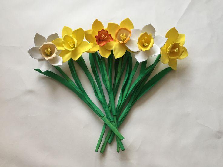Creative Craft foam Handcrafted Daffodil flower bouquet! by MariasFlowersArt on Etsy