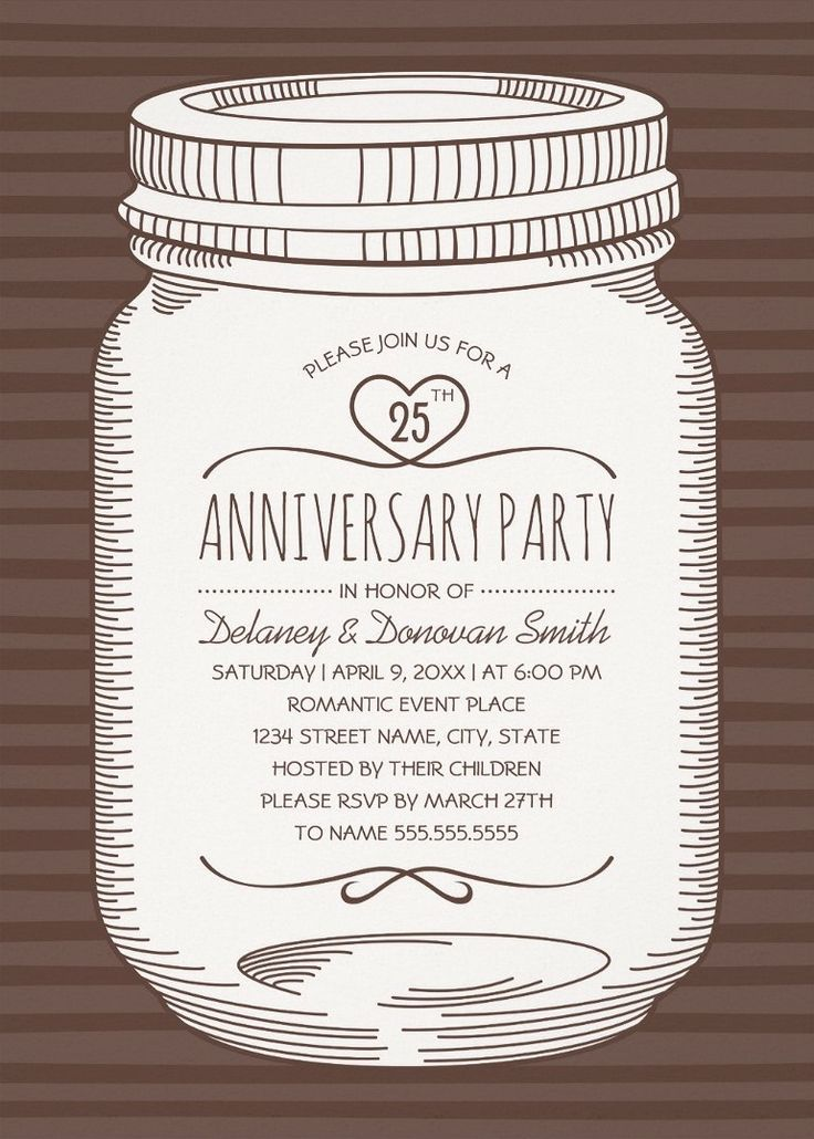 Rustic Mason Jar 25th Wedding Anniversary Invitations – Vintage Country Cards. Feature a creative mason jar illustration on a modern striped brown background. If desired, you can easily change background color. Great for any wedding anniversary party – 10th, 20th, 30th, 40th, 50th, 60th, etc. A romantic invitation perfect for rustic country themed, or other wedding anniversary parties. More at http://superdazzle.com