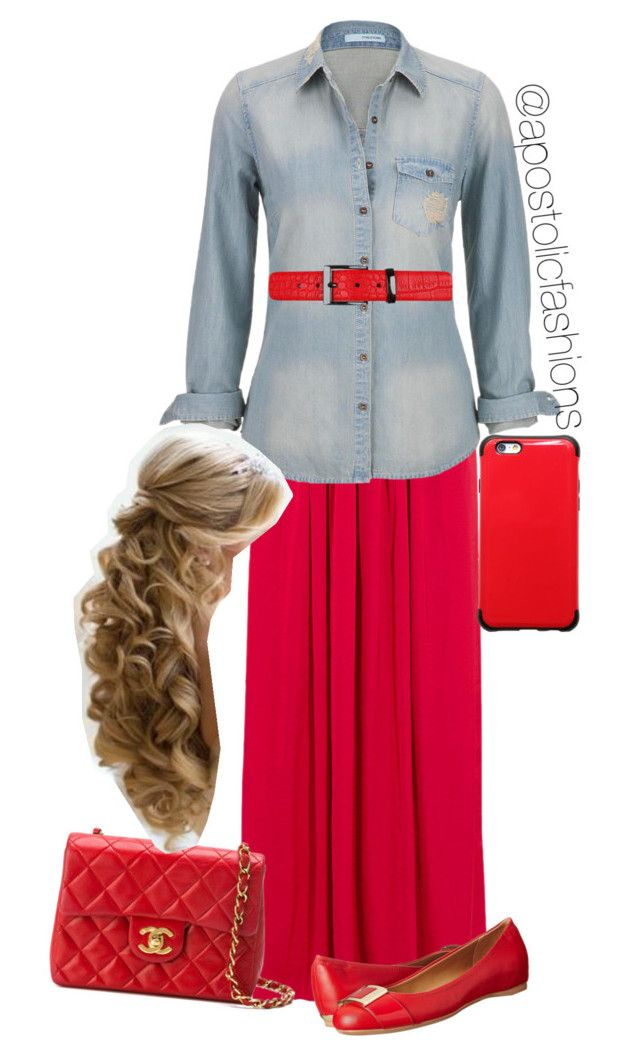 """""""Apostolic Fashions #829"""" by apostolicfashions ❤ liked on Polyvore featuring Needle & Thread, maurices, Calvin Klein and Chanel"""