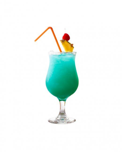 Blue Hawaii 3 ounces pineapple juice 3/4 ounce white rum 3/4 ounce vodka 1/2 ounce lemon juice 1/2 ounce blue Curacao 1/4 ounce simple syrup Ice Cherry and a pineapple wedge (for serving)