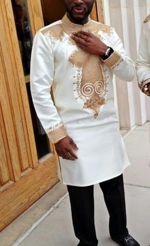 Dashiki  Wedding Attire African Men/'s Fashion Men/'s Made to Order Clothing Embroidered Dashiki Suite African Men/'s Style Shirt /& Pants