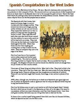 Great primary source worksheet on how brutal the Spanish Conquistadors treated Native Americans! Excellent to use for covering CCSS in your Age of Exploration lesson plan!