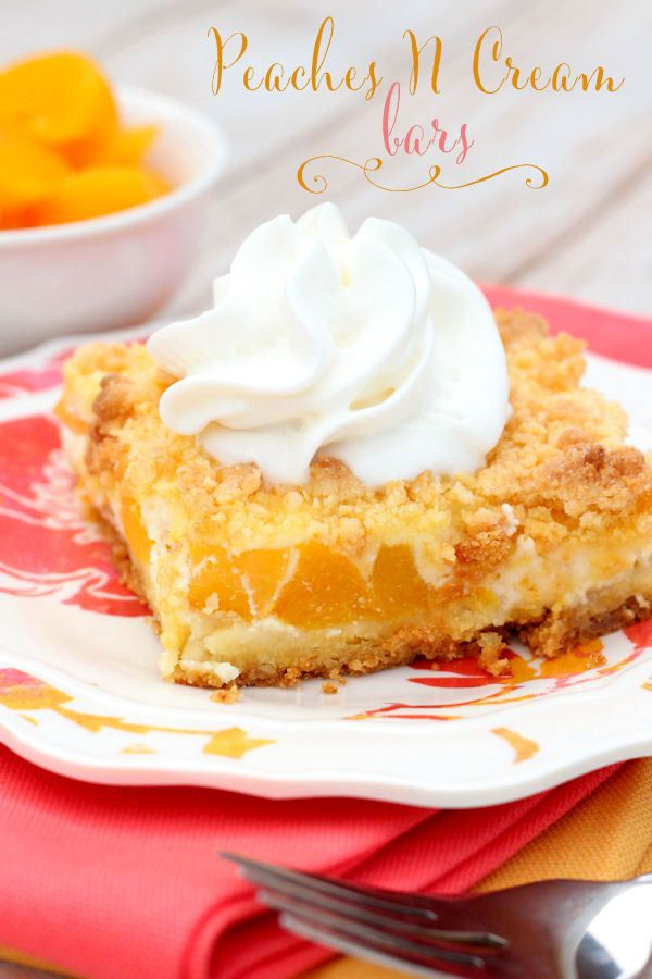 Delicious Peaches n Cream Bars - They're easy, delicious and perfect for summer!