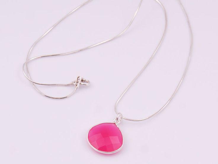 Fuksja, srebrny wisiorek z różowym agatem w Monle na DaWanda.com