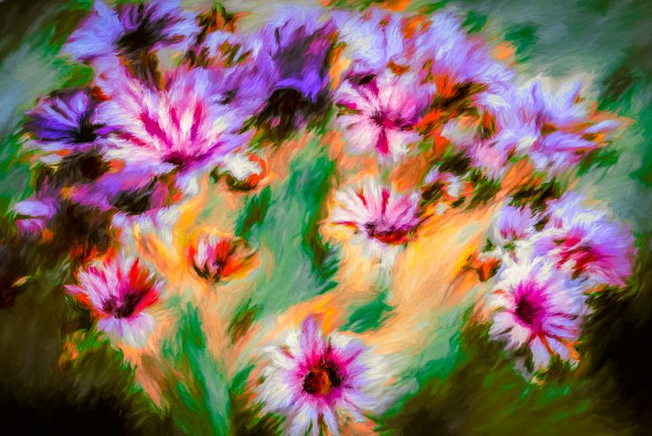 African Daises - This painting is an attempt to create a semi abstract of an African Daisy cluster. Africa is a continent  full of colour but also great suffering and tragedy for its people. I've tried to catch some of this beauty but also a little of the rawness of change sweeping through many of the countries that make up this continent.