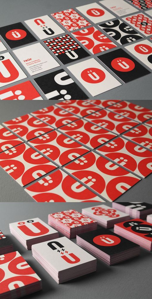 Truf Creative Cards. Umlauts, Circles, dots and the Ü motif reconfigure into interlocking and repeat patterns creating a set of 20 unique business card designs. The electric bolts echo the magnetic philosophy behind our Brand Attraction process.Specs: Moo Luxe with red veins, on Mohawk Superfine double-sided paper