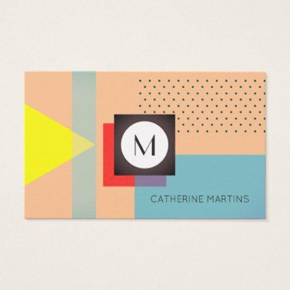 Retro style abstract template shaded edit business card - retro gifts style cyo diy special idea