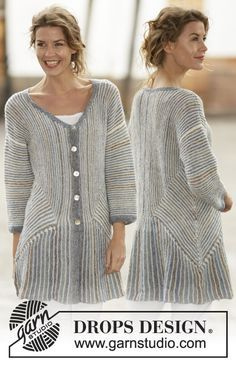 "Lady Grey - Strikket DROPS jakke i ""Fabel"" med striper, riller og dominoruter. Str S - XXXL. - Free pattern by DROPS Design"