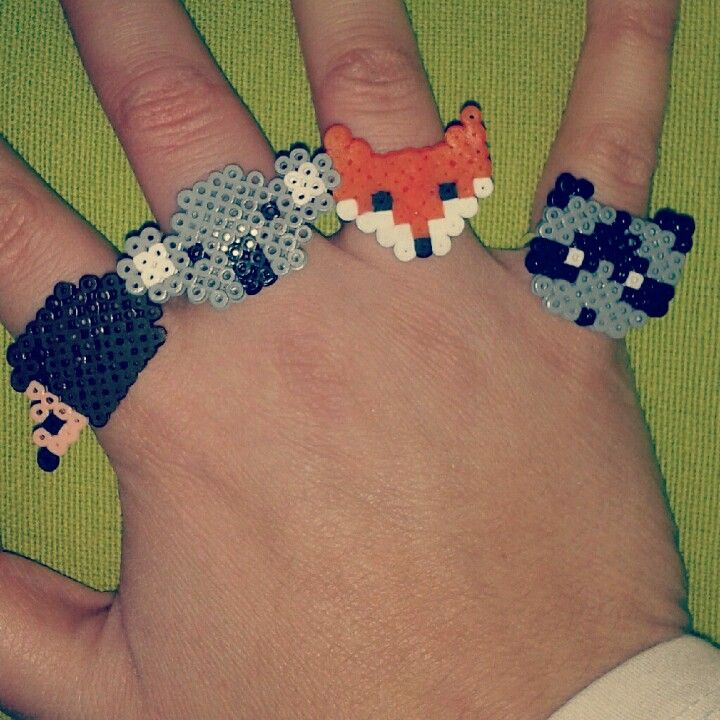 Animal Rings (square board) Hedgehog, Koala, Fox, Raccoon