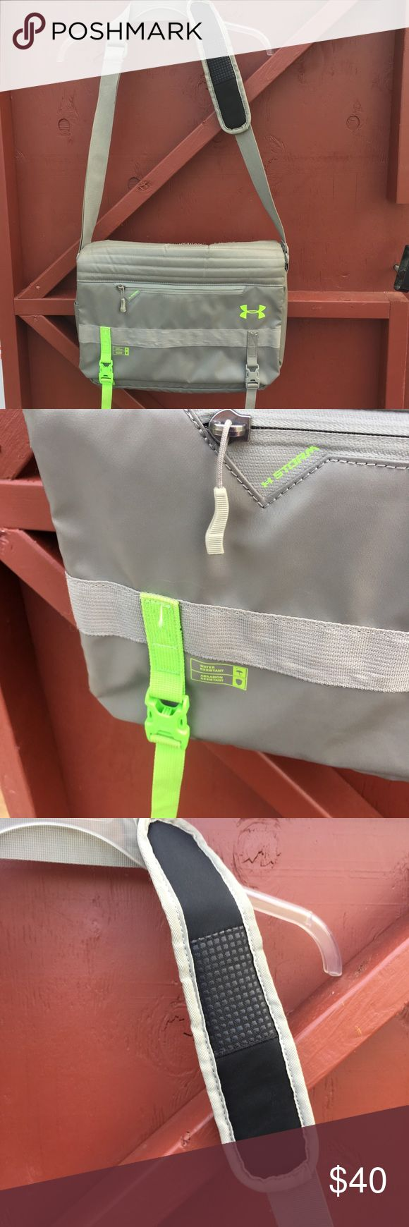 Under Armor crossbody shoulder backpack laptop cas Perfect for back to school! Lovely under armor cross body over the shoulder backpack, satchel, laptop case. Several pockets to put everything you need for school. Great gray and lime green color. Overall, in clean, very good condition with a few minor spots from use. Under Armour Other