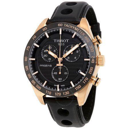 Tissot PRS 516 Chronograph Leather Men's Watch, T1004173605100, Size: 42 mm, Gray