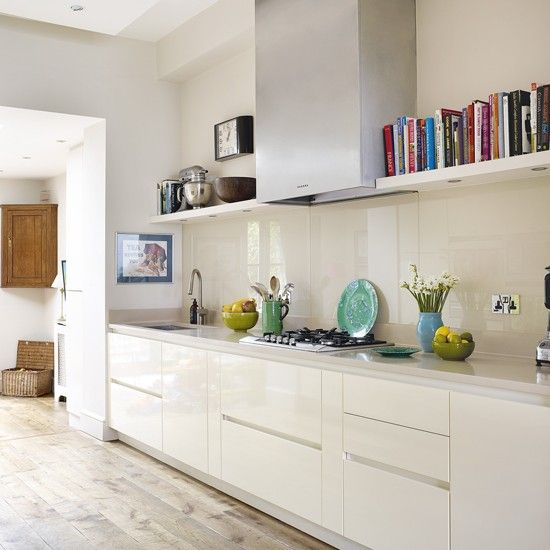 Modern hi-gloss kitchen with glass splashback