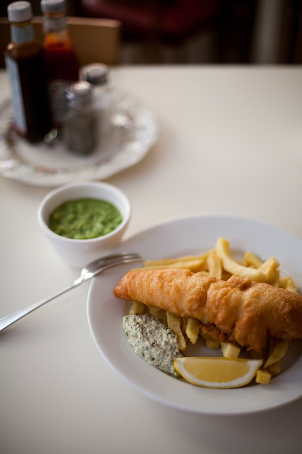What's more British than Fish & Chips, with mushy peas? Perfect with a chilled bottle of Saint.