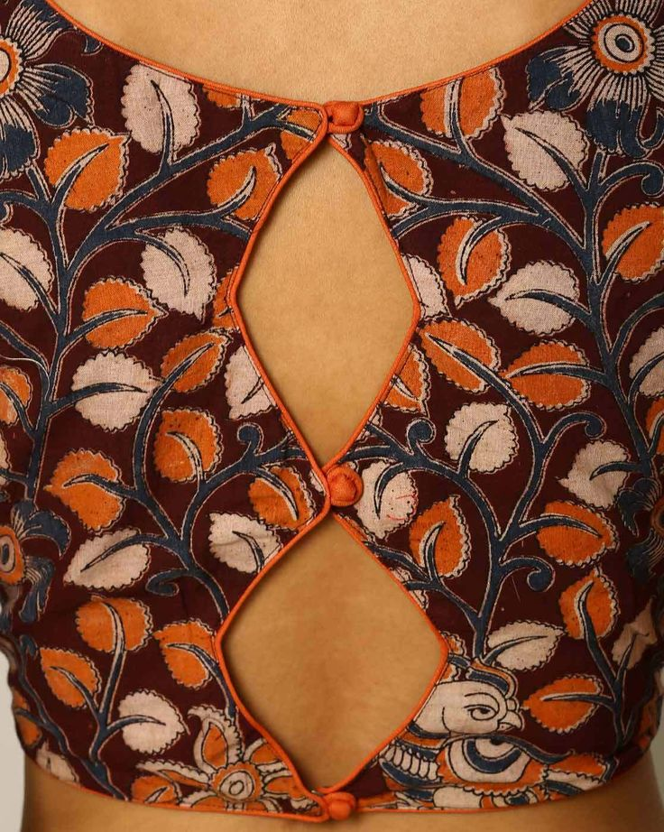 Buy Maroon Indie Picks Kalamkari Print Cotton Blouse