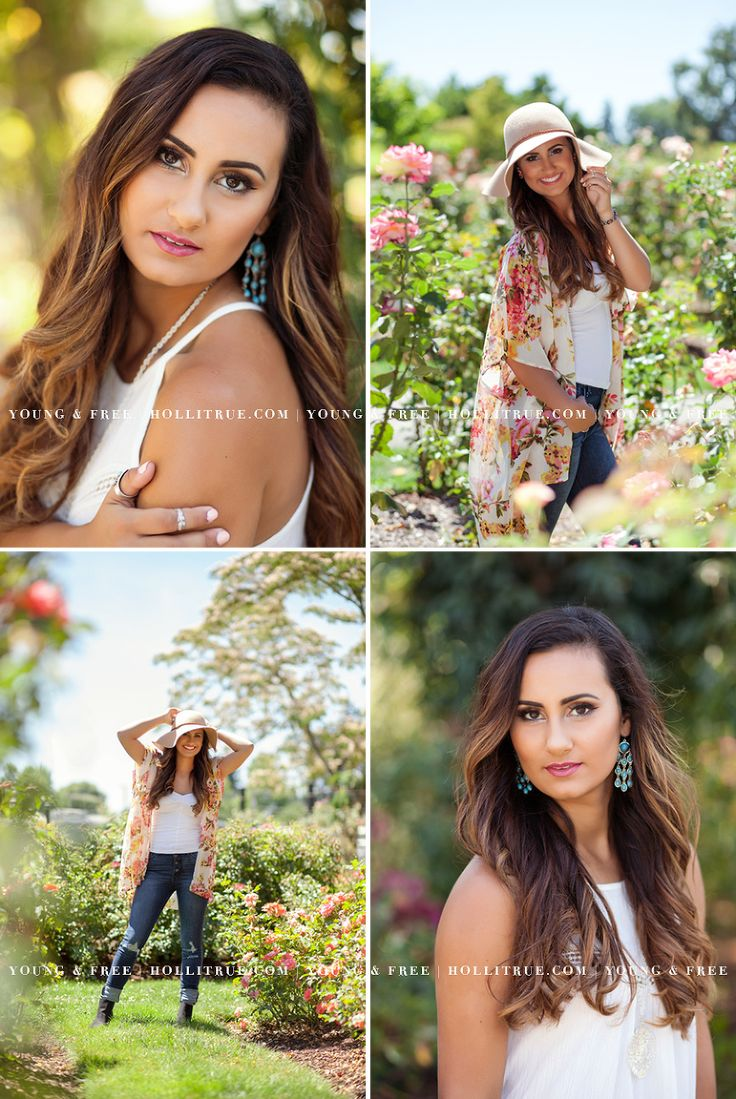 Colorful senior pictures in a beautiful rose garden, full sun, with high school senior portrait photographer, Holli True, in Oregon.