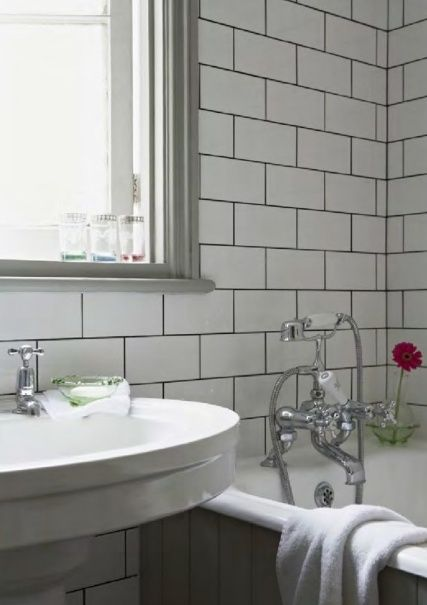 15 best white subway tile grey grout images on pinterest for Edwardian bathroom design
