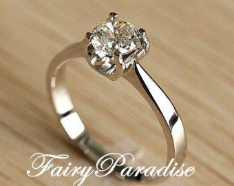 Klassische 1 Carat Spannung gesetzt Solitaire Verlobungsring / 925 Silber Promise Ring für sie, Runde Schnitt Lab gemacht Diamond, Kostenloses Geschenk-Box