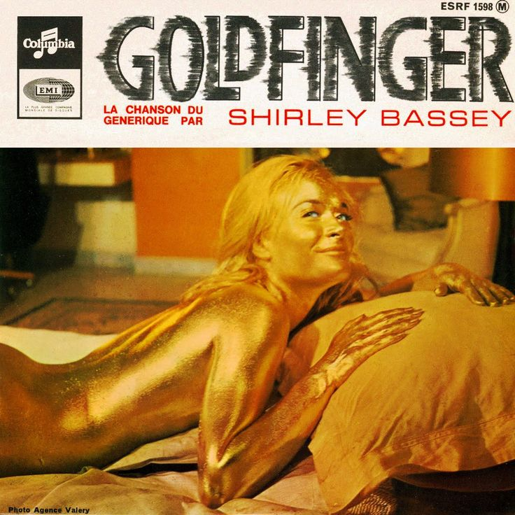 Shirley Bassey Goldfinger song record featuring Shirley Eaton as Jill Masterson in the film